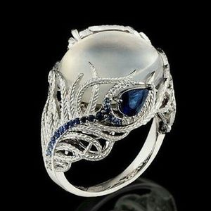 Moonstone & Sapphire Sterling Peacock-Feather Ring